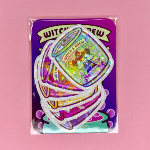holographic witch's brew stickers