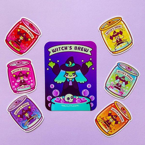 glossy witch's brew sticker pack